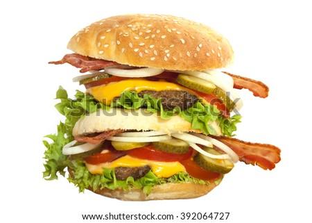 Tasty double homemade hamburger isolated over white - stock photo