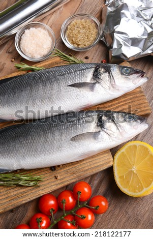 Tasty fish on table close-up - stock photo