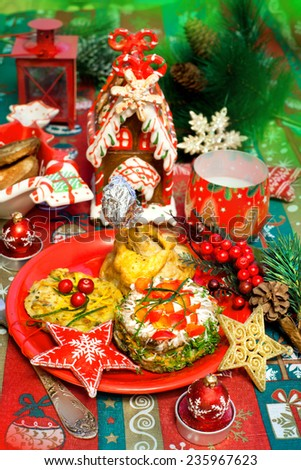 Tasty food - appetizer on a holiday and Christmas decor - stock photo