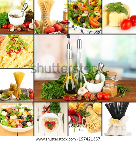Tasty food collage - stock photo