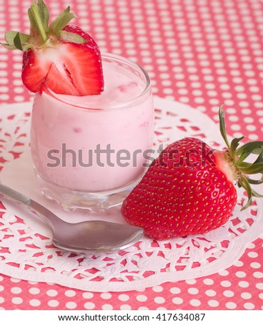 Tasty fresh strawberry smoothie - stock photo