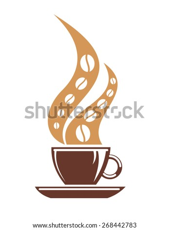 Tasty freshly brewed hot cup of coffee with coffee beans in steam for full roast flavour - stock photo