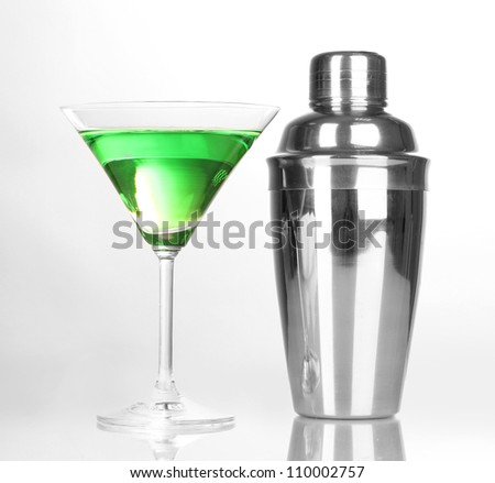 Tasty green cocktail isolated on white - stock photo