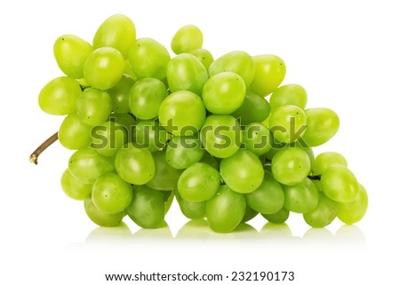 tasty green grape isolated on the white background - stock photo