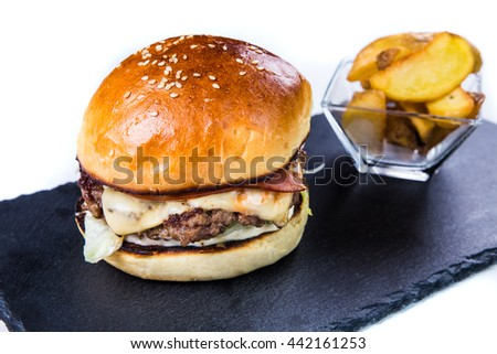 Tasty grilled  burger. Restaurant food concept. - stock photo