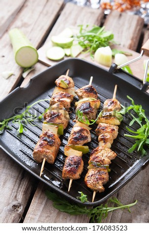 Tasty grilled meat on skewers in a grill pan - stock photo