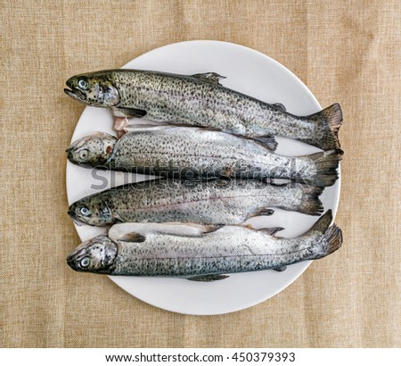 Tasty grilled trout. Food theme. International cuisine. Fish specialties. - stock photo