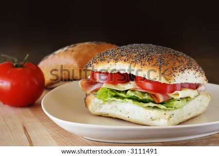 Tasty ham and cheese sandwich with lettuce and tomatoes. Shallow depth of field. - stock photo