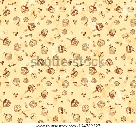 Tasty hand-drawing card made from seamless cupcake pattern. Vector version also exist. - stock photo