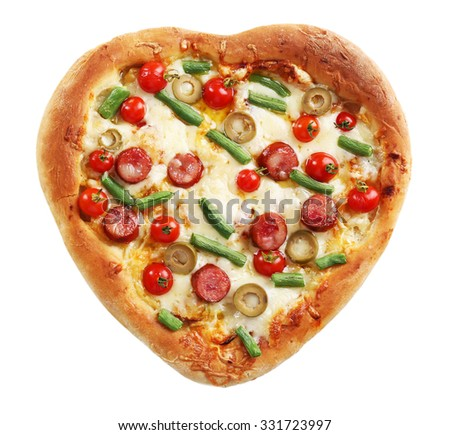 Tasty heart shaped pizza isolated on white background - stock photo