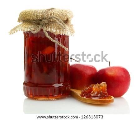 tasty homemade jam, isolated on white - stock photo