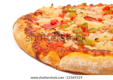 Tasty Italian pizza, isolated on white background. Shallow DOF - stock photo