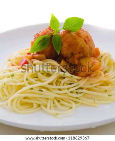 tasty looking spaghetti bolognese - stock photo