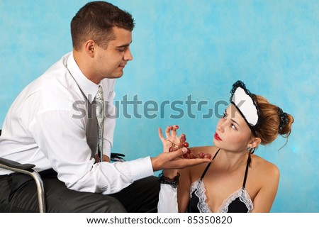 Tasty lunch of business man with his maid - stock photo