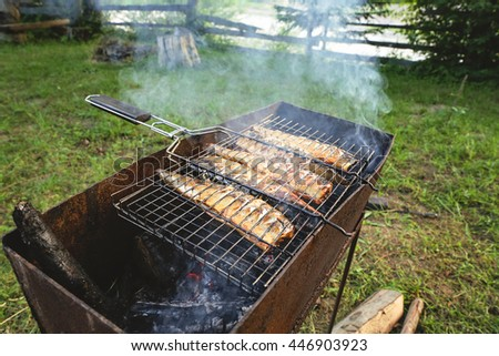 Tasty mackerel, cooked on the grill in the open air. Five fishes on the grill in the smoke, tasty and fresh food, picnic, party, outdoor recreation. Grilled fish dish. - stock photo
