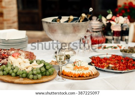 Tasty meat and vegetable snacks on the wedding table - stock photo