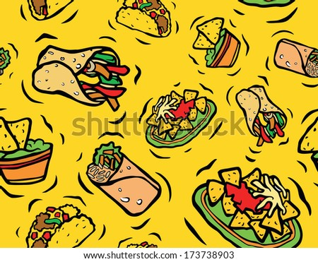 Tasty Mexican Food Seamless Pattern Yellow Background - stock photo