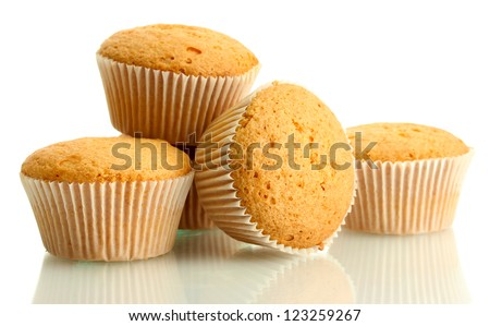 tasty muffin cakes, isolated on white - stock photo