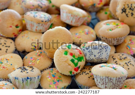 tasty muffin cakes  on a cooling grid - stock photo