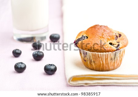 tasty muffin with blueberry at a white serviette - stock photo