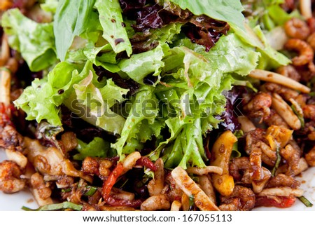 Tasty mushrooms appetizer on the plate - stock photo