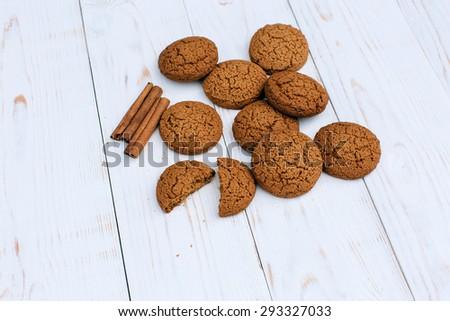 Tasty oat cookies - stock photo