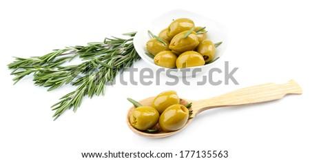 Tasty olives, isolated on white - stock photo