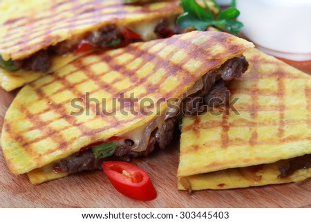 Tasty pancakes served in the plate - stock photo