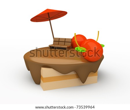 tasty piece of cake isolated over white - stock photo
