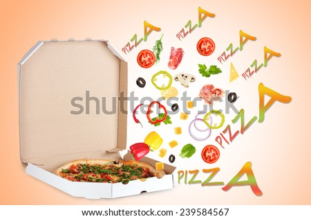 Tasty pizza in pizza box and ingredients on color background - stock photo