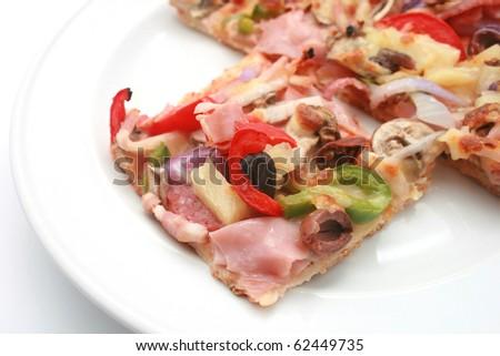tasty Pizza isolated on white - stock photo