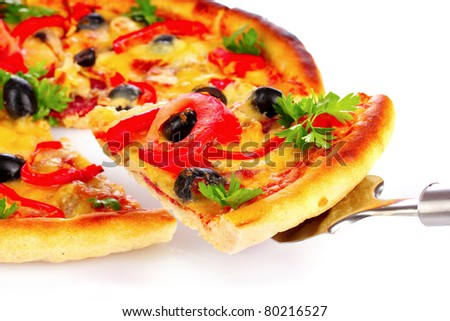 Tasty  pizza isolated on white - stock photo