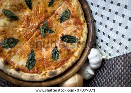 tasty pizza on top view and ingredient - stock photo