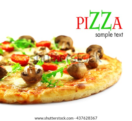 Tasty pizza with mushrooms and tomatoes isolated on white - stock photo