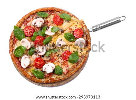 Tasty pizza with vegetables and basil isolated on white - stock photo