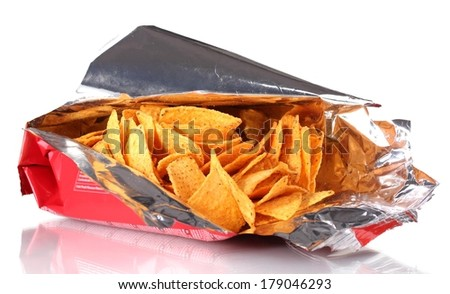 tasty potato chips in bag isolated on white  - stock photo