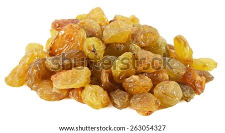 tasty raisins isolated on the white background - stock photo