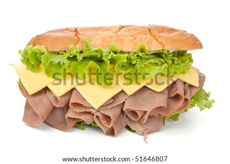 tasty reformed roasted beef, cheese and lettuce sandwich - stock photo