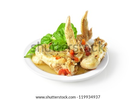 Tasty roast chicken wing meat - stock photo
