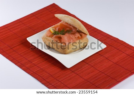 Tasty Salmon sandwich - stock photo