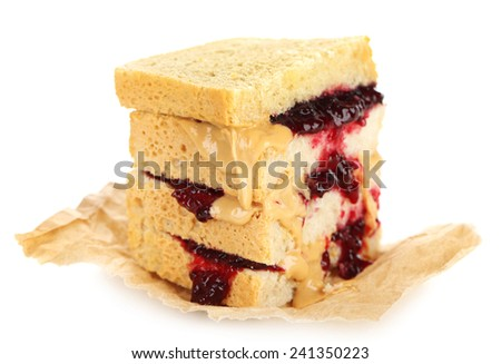 Tasty sandwich with jam and peanut butter, isolated on white - stock photo
