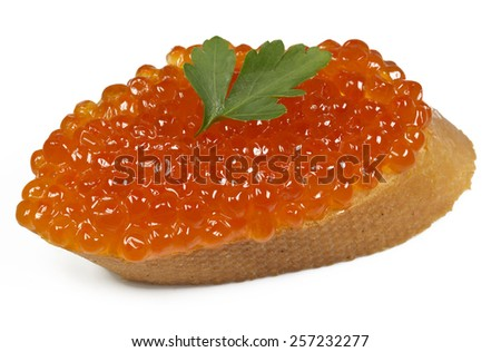 Tasty sandwich with red caviar  on white background  - stock photo