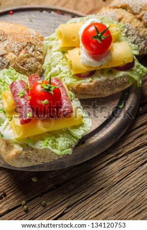 Tasty sandwiches made from fresh ingredients - stock photo