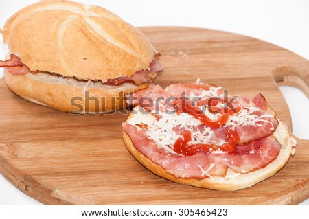 Tasty sandwiches with homemade ham, cheese and ketchup. - stock photo