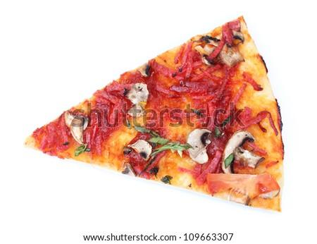 tasty slice of pizza isolated on white - stock photo