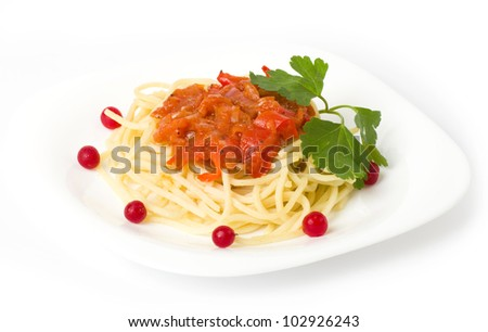 Tasty spaghetti with tomatoes and vegetable - stock photo