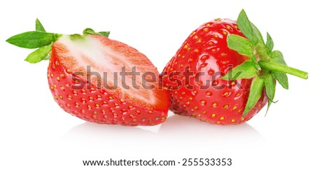 tasty strawberry isolated on the white background - stock photo