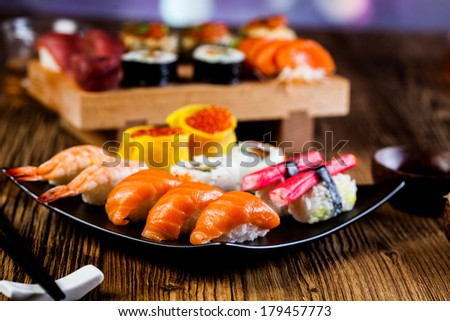 Tasty sushi set, Japanese food - stock photo