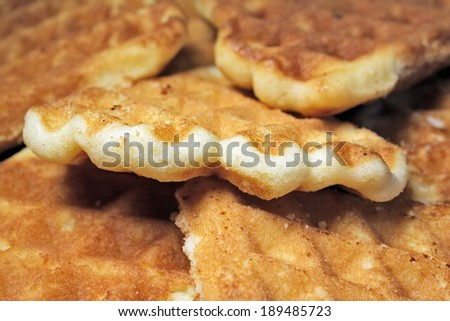Tasty sweet waffle cake background - Delicious tasty waffle for food concepts - stock photo