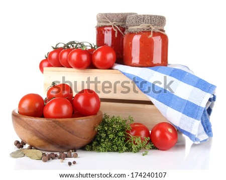 Tasty tomato sauce and fresh tomatoes, isolated on white - stock photo